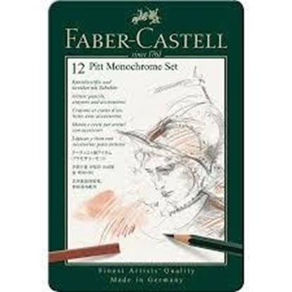 Faber Castell -  PITT MONOCHROME Tin SET OF 12