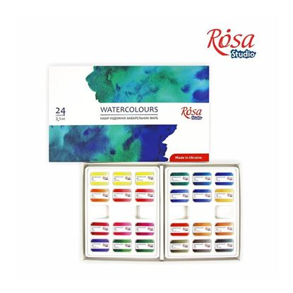 Rosa Watercolor Set , 24 colors, Cubes, cardboard, ROSA Gallery