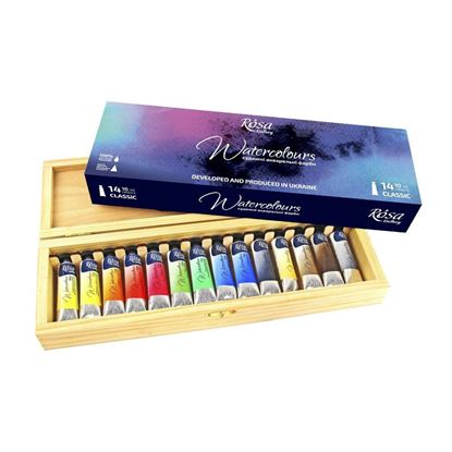 "Rosa Watercolor Set ""Classic Wooden Box, 14 Colors, Tube"